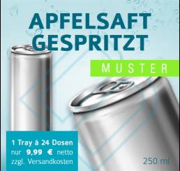 MUSTER 24 x APFELSAFT GESPRITZT (ohne Pfand) – Blankodosen 250 ml