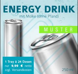 MUSTER 24 x ENERGY DRINKS mit Molke (ohne Pfand) – Blankodosen 250 ml