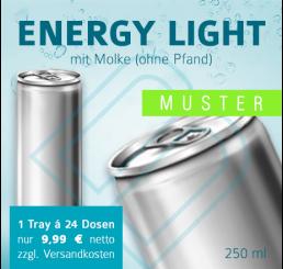 MUSTER 24 x ENERGY DRINK Light mit Molke (ohne Pfand) – Blankodosen 250 ml