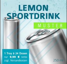 MUSTER 24 x LEMON SPORTSDRINK (ohne Pfand) – Blankodosen 250 ml