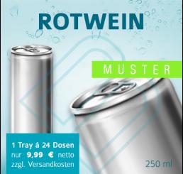 MUSTER 24 x ROTWEIN – Blankodosen 250 ml (ohne Pfand)