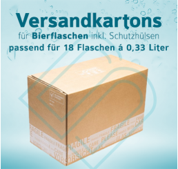 Bierflaschen Versandkartons inkl. Schutzhülsen für 18 Flaschen – 0,33 Liter
