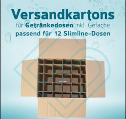Getränkedosen Versandkartons inkl. Gefache für 12 Slimline-Dosen