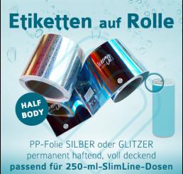 Digitaldruck-Rollenetiketten für 250-ml-SlimLine-Dosen »HalfBody«